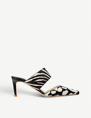 JIMMY CHOO Hawke 65 animal-print heeled leather mules