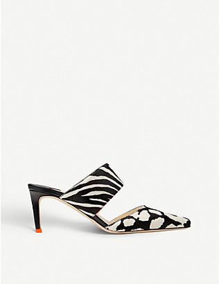 JIMMY CHOO: Hawke 65 animal-print heeled leather mules