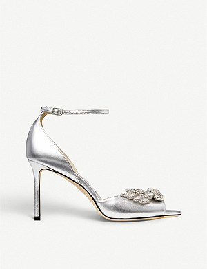 JIMMY CHOO Tris 85 metallic and crystal-embellished leather courts