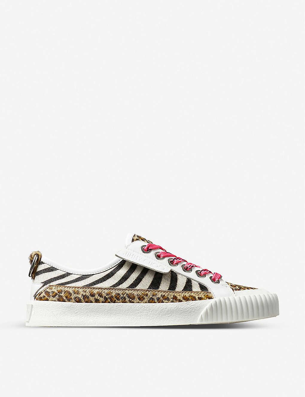 JIMMY CHOO: Impala zebra-print leather low-top trainers
