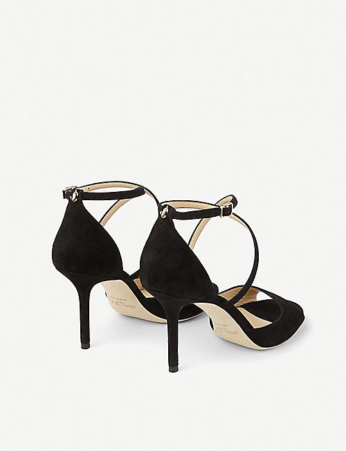JIMMY CHOO Emily 85 peep-toe suede heeled sandals