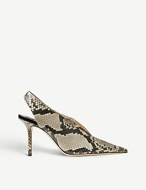JIMMY CHOO Saise 85 slingback snake-embossed leather heeled mules