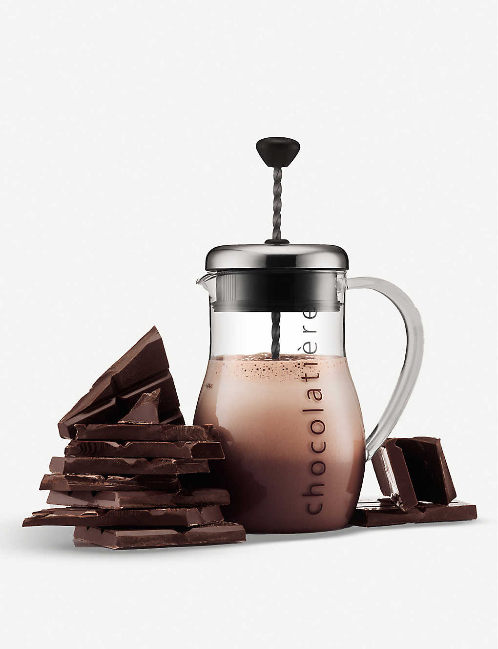 BODUM: Chocolatiere glass and stainless steel jug 1l