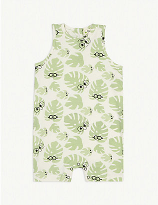 BONNIE MOB: Leaf print sleeveless cotton shortall 0-18 months