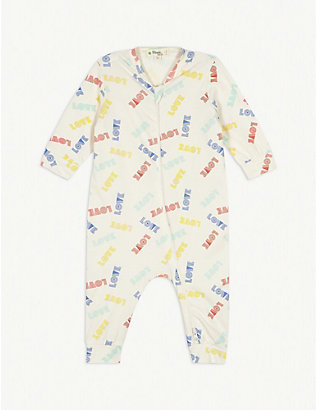 BONNIE MOB: Retro love print cotton sleepsuit 0-18 months