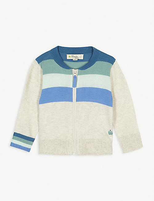 BONNIE MOB Striped knitted cotton cardigan 3-24 months
