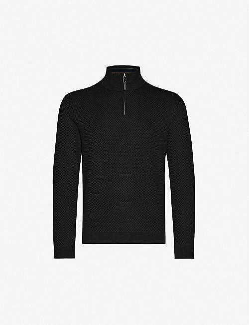 TED BAKER Tunnel textured wool-blend funnel-neck jumper