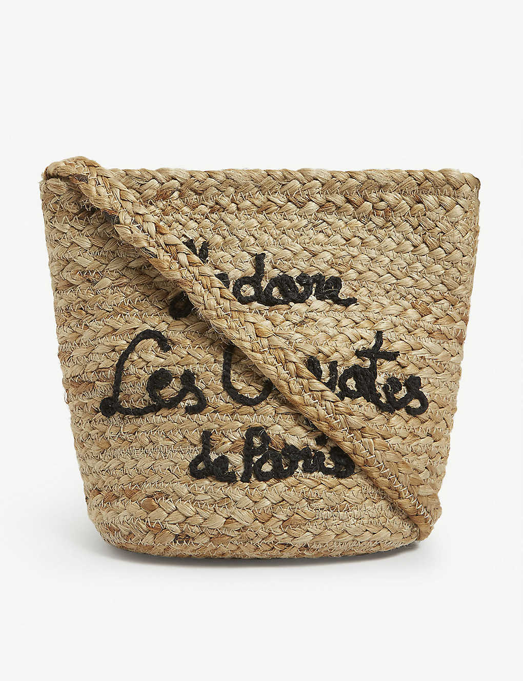 LES COYOTES DE PARIS: Kids embroidered straw shoulder bag