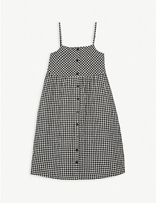 LES COYOTES DE PARIS: Joselyn gingham check cotton-blend dress 8-16 years