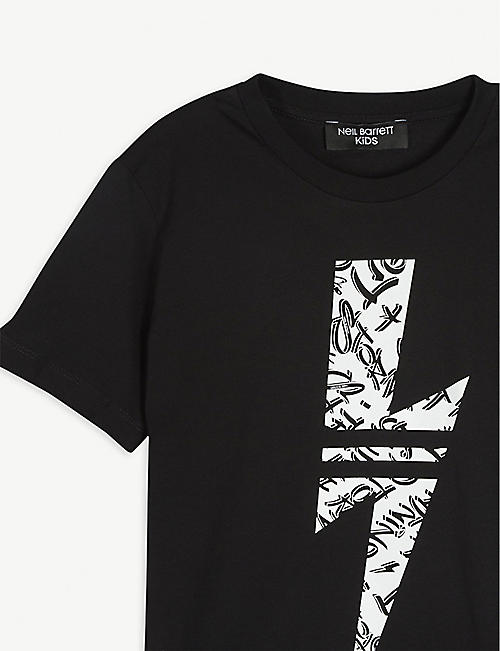 NEIL BARRETT Graffiti lightning bolt graphic cotton T-shirt 4-14 years