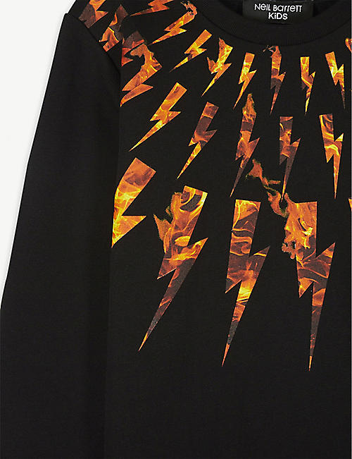 NEIL BARRETT Fire lightning bolt sweatshirt 4-14 years
