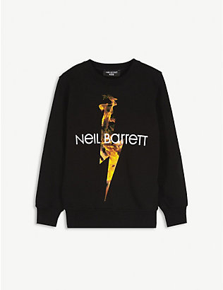 NEIL BARRETT: Logo lightning bolt fire cotton jumper 4-14 years