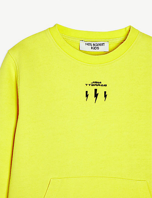 NEIL BARRETT Lightning bolt-print cotton sweatshirt 8-14 years