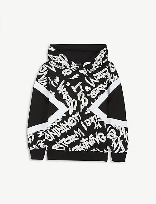 NEIL BARRETT Graffiti print cotton hoody 2-16 years