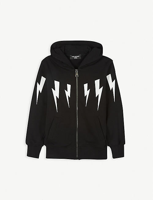 NEIL BARRETT Zip-up cotton lightning bolt hoody 4-14 years