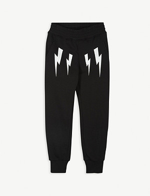 NEIL BARRETT Lightning bolt print cotton jogging bottoms 2-16 years