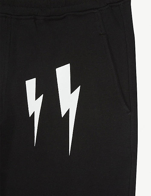 NEIL BARRETT Lightning bolt-printed cotton jersey shorts 4-14 years