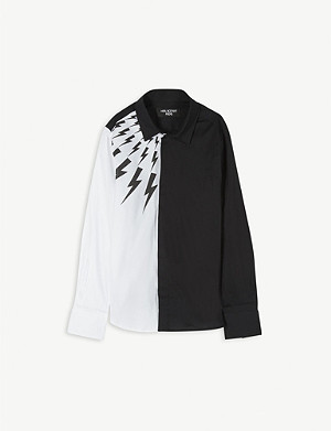 NEIL BARRETT Lightning bolt two-tone cotton shirt 4-14 years