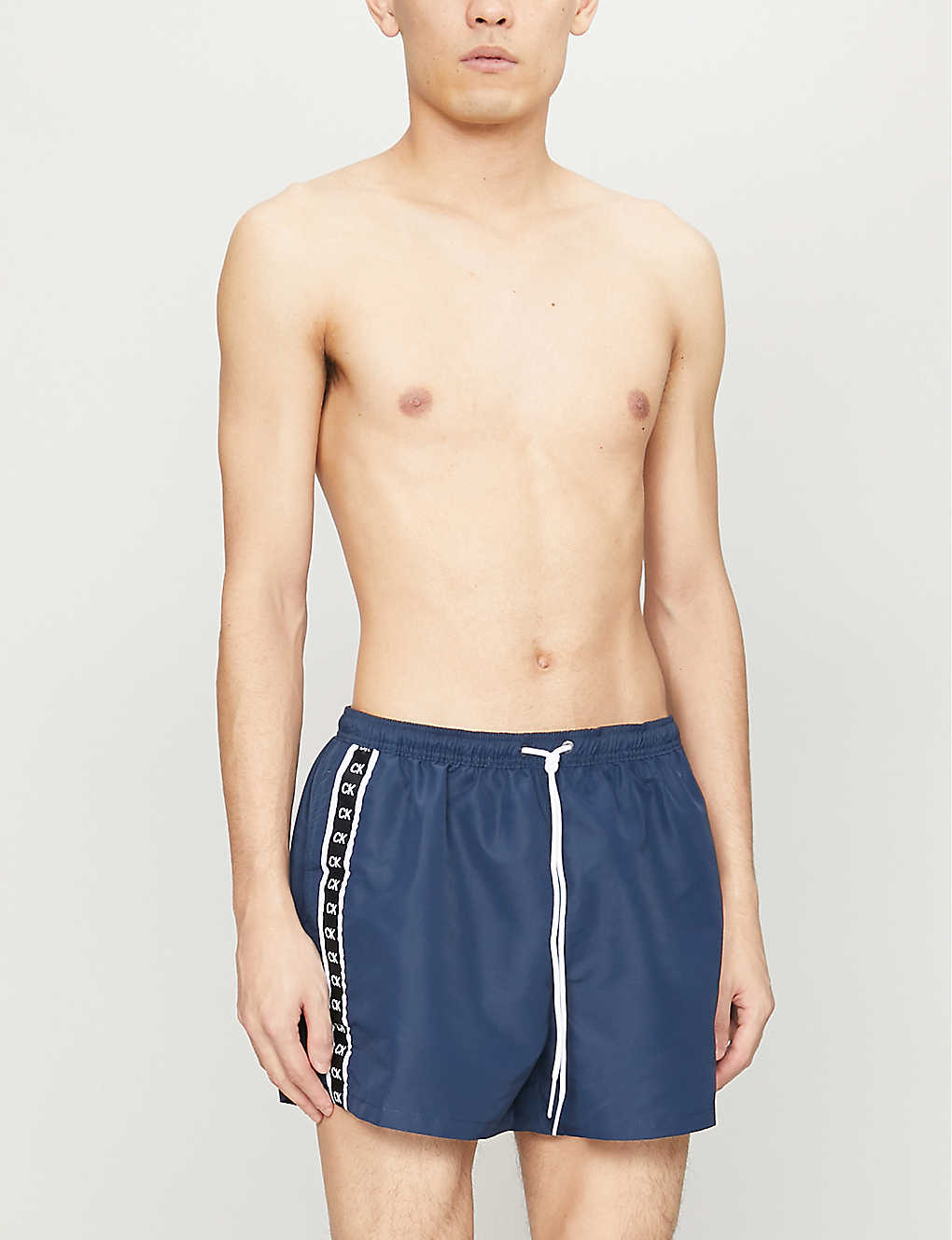 CALVIN KLEIN: Branded-tape relaxed-fit shell shorts