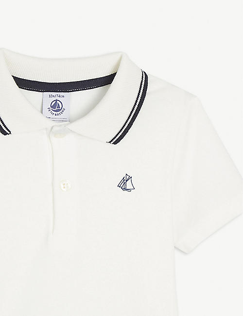 PETIT BATEAU Embroidered logo cotton polo shirt 6-36 months