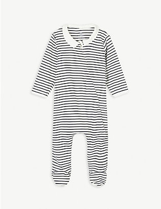 PETIT BATEAU: Striped shirt collar cotton sleepsuit newborn-18 months