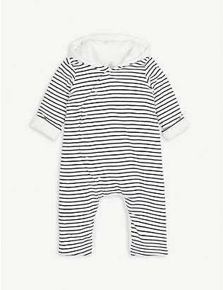 PETIT BATEAU: Striped padded cotton sleepsuit newborn-12 months