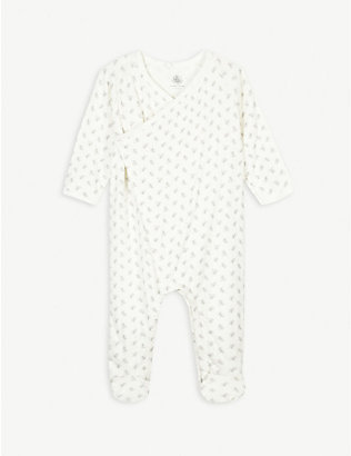 PETIT BATEAU: Bunny print organic cotton all-in-one newborn-18 months