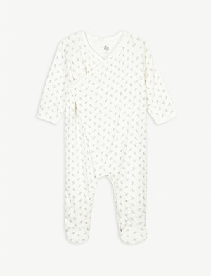 PETIT BATEAU Bunny print organic cotton all-in-one newborn-18 months