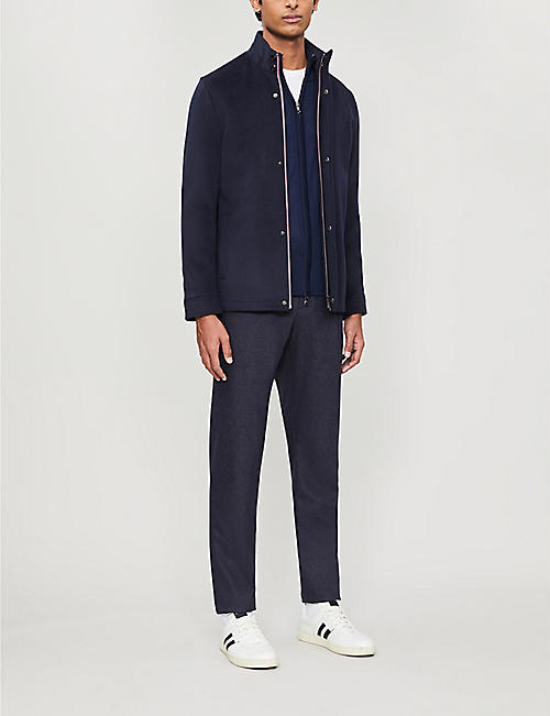 TED BAKER Funnel neck wool-blend jacket