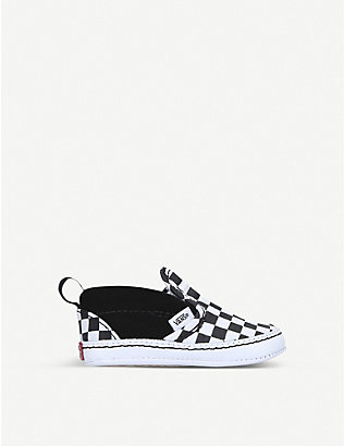 VANS: Chequer slip-on suede-canvas shoes 0-1 years