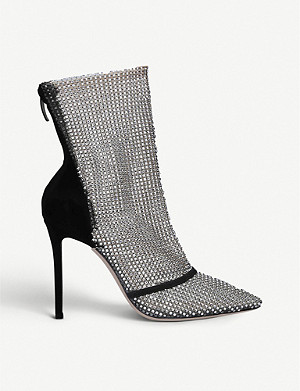 GIANVITO ROSSI Adore leather and crystal booties