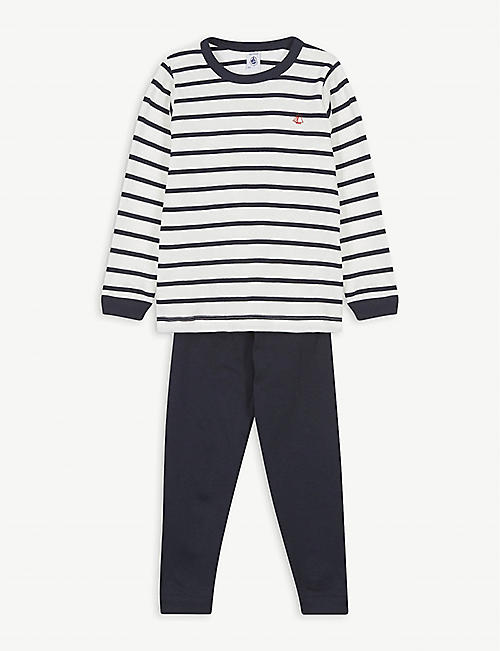 PETIT BATEAU Boat logo striped cotton pyjama set 2-12 years