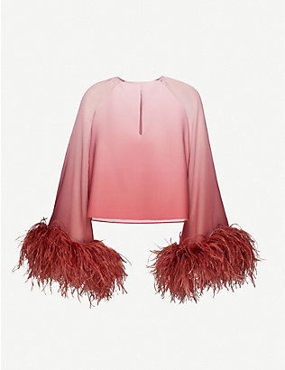 16 ARLINGTON: Daphnie feather-trimmed chiffon top