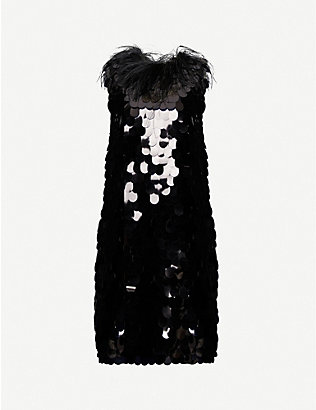 16 ARLINGTON: Lily feather-embellished sequin mini dress