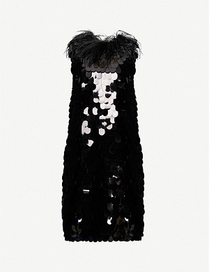16 ARLINGTON Lily feather-embellished sequin mini dress