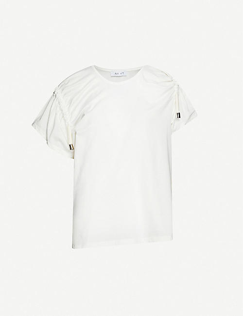 ACT N1: Asymmetric-neck cotton T-shirt