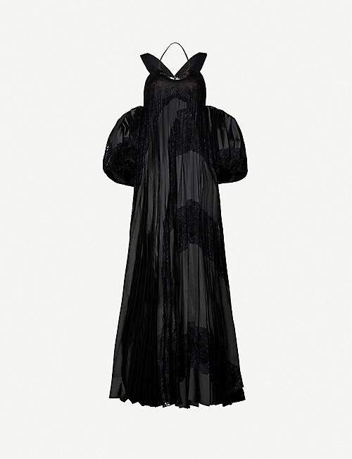 FYODOR GOLAN Off-shoulder puffed-sleeve crepe dress