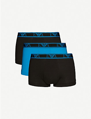EMPORIO ARMANI: Pack of three logo-pint cotton-jersey boxer briefs