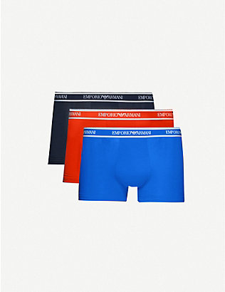 EMPORIO ARMANI: Logo-embellished three-pack low-rise stretch-cotton trunks