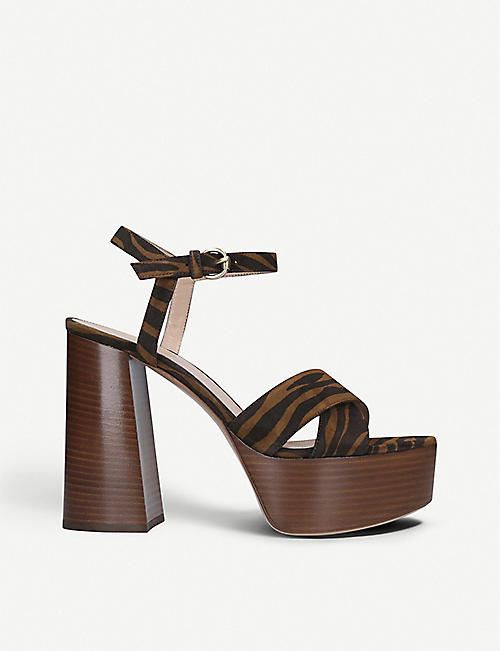 GIANVITO ROSSI: Bebe animal-print heeled leather sandals