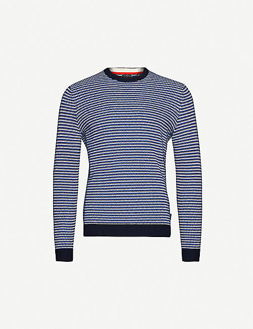 TED BAKER Graphic-knit crewneck cotton-blend jumper