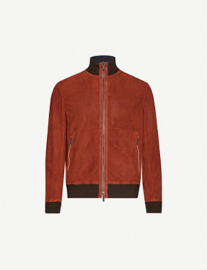 ERMENEGILDO ZEGNA Perforated suede bomber jacket