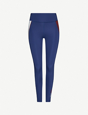 TOMMY SPORT Block-panelled high-rise stretch-woven leggings