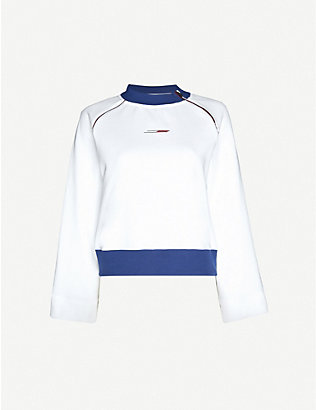 TOMMY SPORT: Brand-print high-neck cotton-blend top