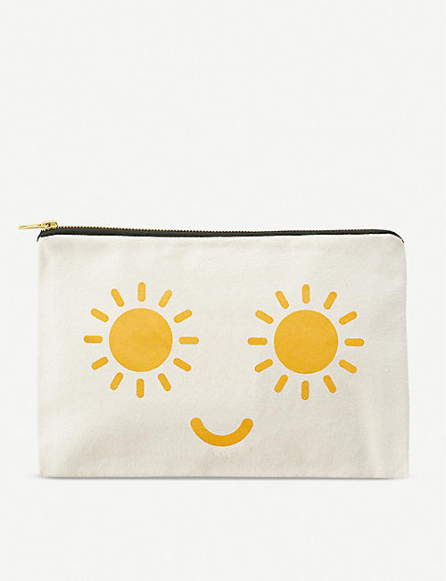 ALPHABET BAGS: Sunshine Eyes graphic-print canvas pouch