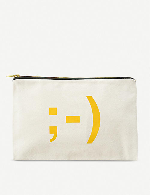 ALPHABET BAGS: Wink Emoji make-up pouch