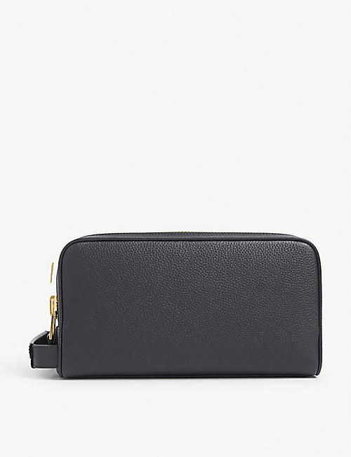 TOM FORD: Double-zip leather wash bag