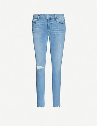 PAIGE: Verdugo ripped skinny mid-rise stretch-denim jeans