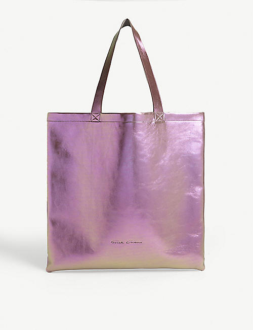 RICK OWENS Large metallic leather tote