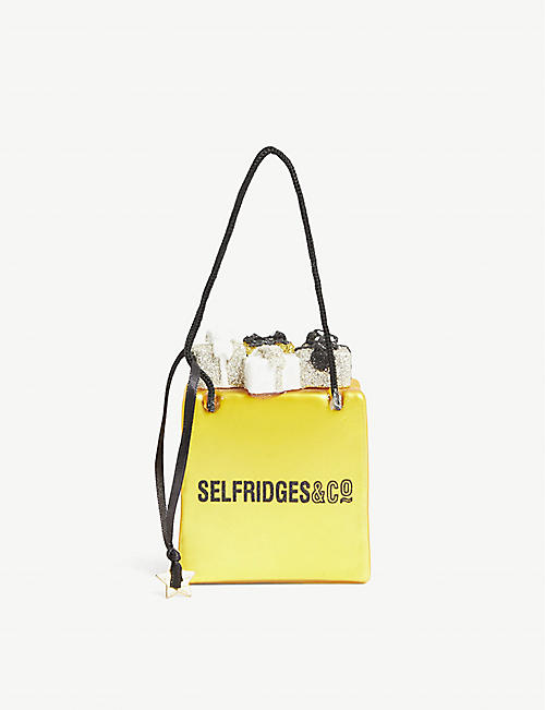 CHRISTMAS: Selfridges bag with gifts glass Christmas bauble